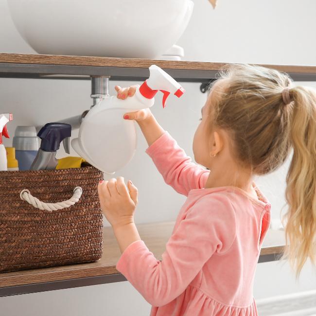 Kid taking cleaner sq